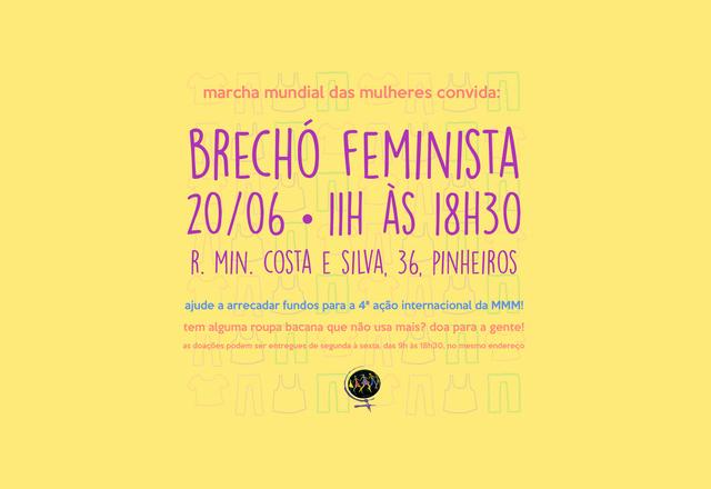 Brechó feminista acontecerá dia 20 e arrecada fundos para ação de mulheres