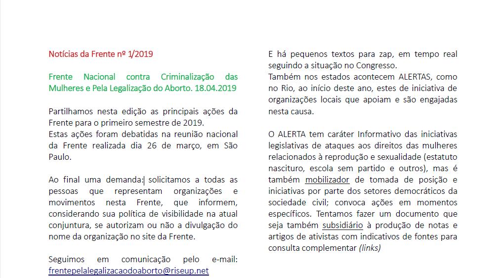 Boletim: Notícias da Frente nº 1/2019