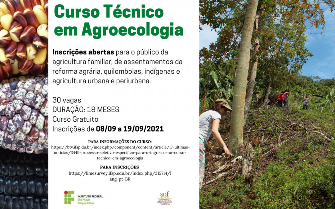 Curso Técnico em Agroecologia da SOF e IFSP voltado para mulheres agricultoras tem início ainda neste semestre